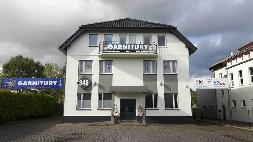 Zakład produkcji odzieży męskiej ADALBERT, głogowska 348 Poznań. Sprzedaż hurtowa i sklep z garniturami, marynarkami, koszulami, spodniami