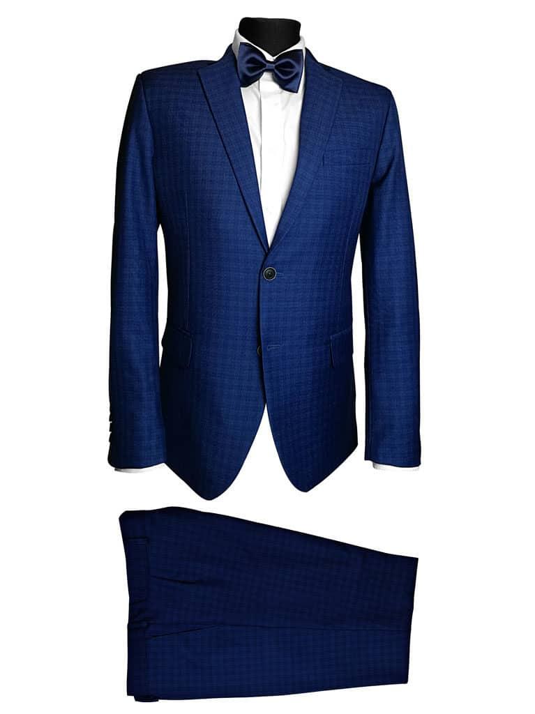 garnitur męski niebieski w kratę