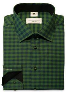 Koszula męska w kratę odcienie zieleni
